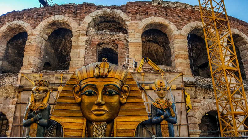 Arena di Verona surrounded by Aida's stage set - Verona Opera Festival - Veneto, Italy - www.rossiwrites.com