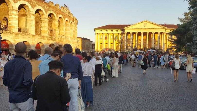 The queues in front of Arena di Verona- Verona Opera Festival - Veneto, Italy - www.rossiwrites.com