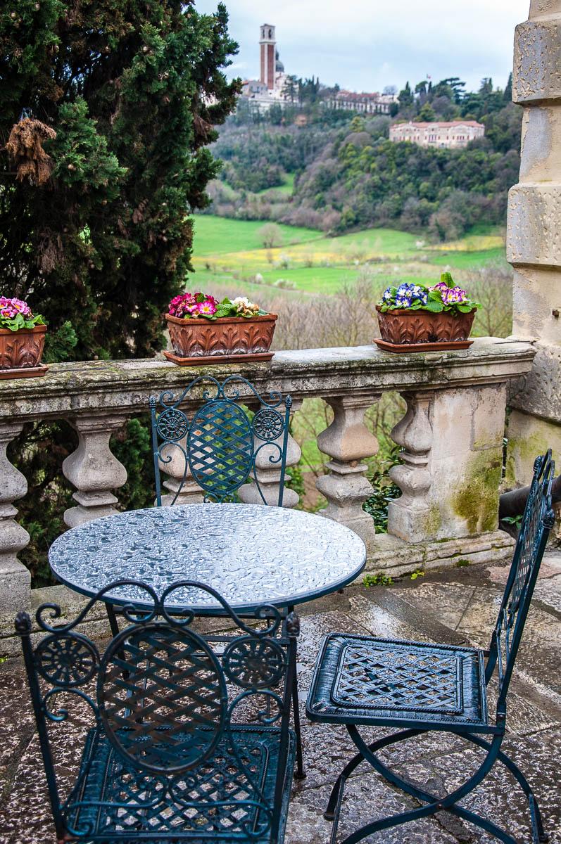 Monte Berico seen from the coffee shop of Villa Valmarana ai Nani - Vicenza, Italy - www.rossiwrites.com