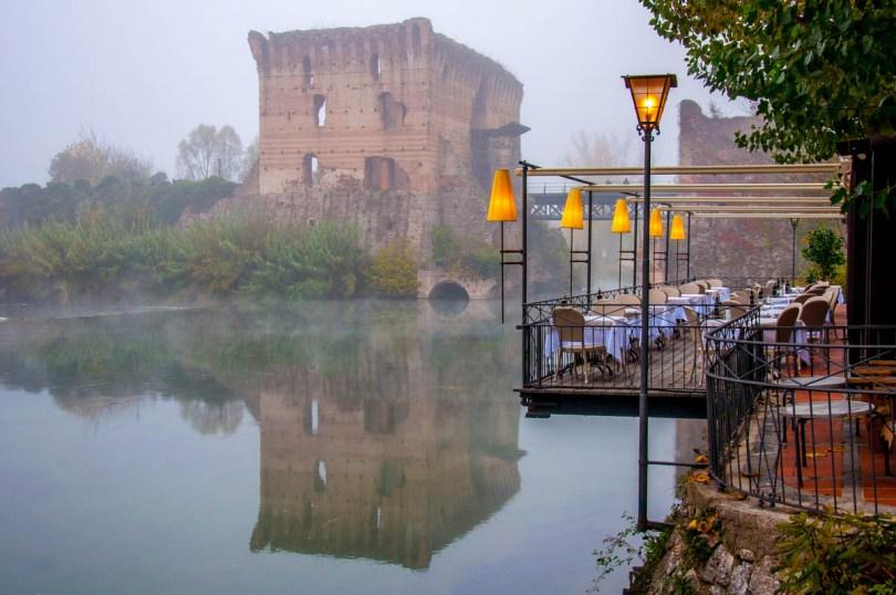 The Visconti Bridge in the fog - Borghetto sul Mincio, Italy - rossiwrites.com