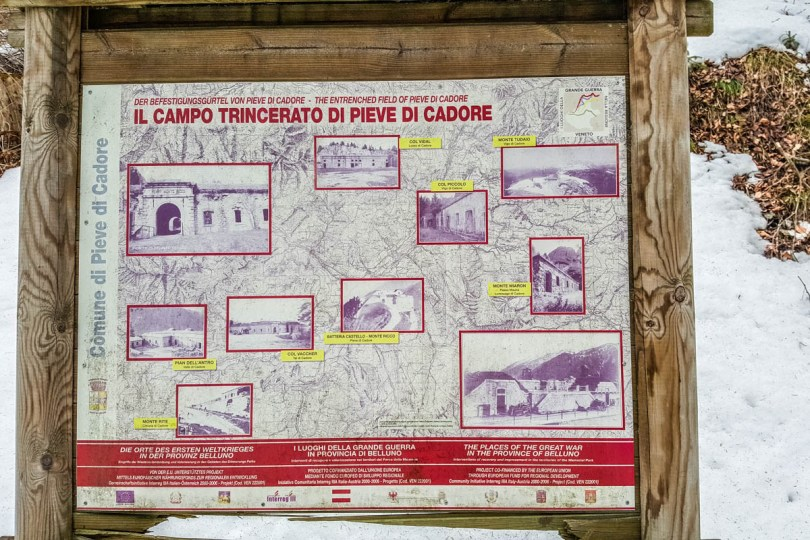 The map showing the places of the Great War in Belluno - Pieve di Cadore, Veneto, Italy - www.rossiwrites.com