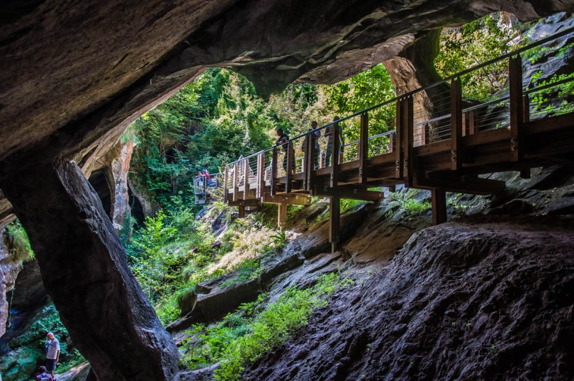 The walkway leading into a cave - Grotte di Caglieron, Fregona, Veneto, Italy - www.rossiwrites.com