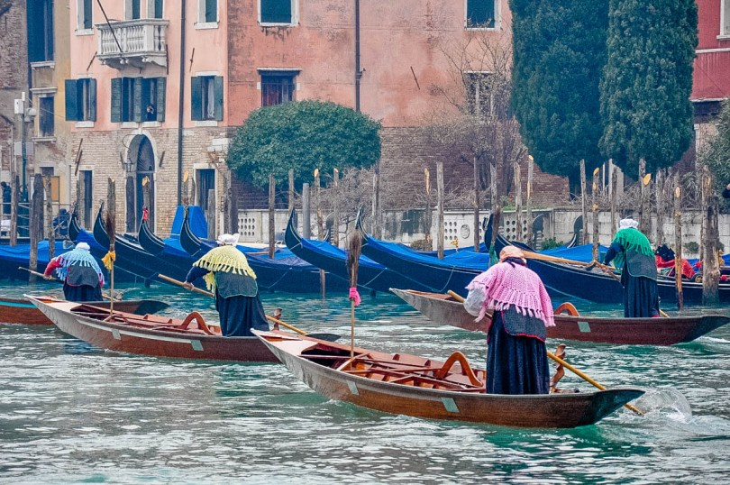 Befanas competing in the traditional Befana race - Venice, Italy - www.rossiwrites.com