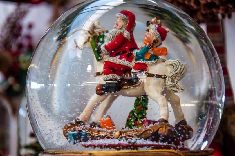 Christmas snow globe with St. Nicholas on a horse - rossiwrites.com