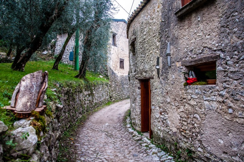 The cobbled path leading into the medieval village - Campo di Brenzone, Lake Garda, Italy - www.rossiwrites.com