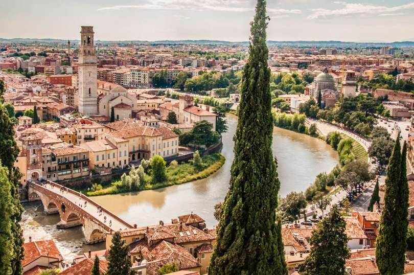 A view of Verona from Castel San Pietro - Veneto, Italy - www.rossiwrites.com