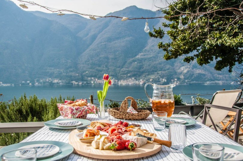 Table laid for lunch - Nesso, Lake Como, Lombardy, Italy - www.rossiwrites.com