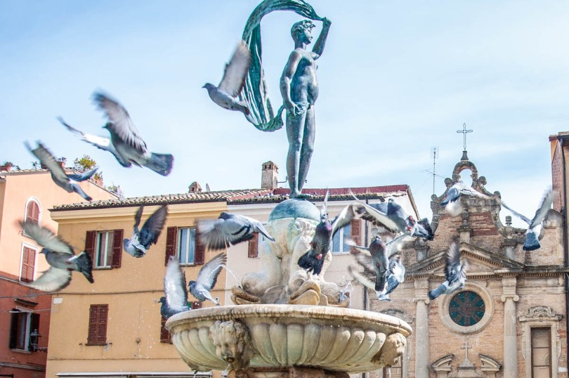 Pigeons flying off a fountain - Fano, Marche, Italy - www.rossiwrites.com