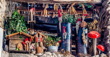 Artistic display in the medieval village Canale di Tenno - Trentino, Italy - www.rossiwrites.com
