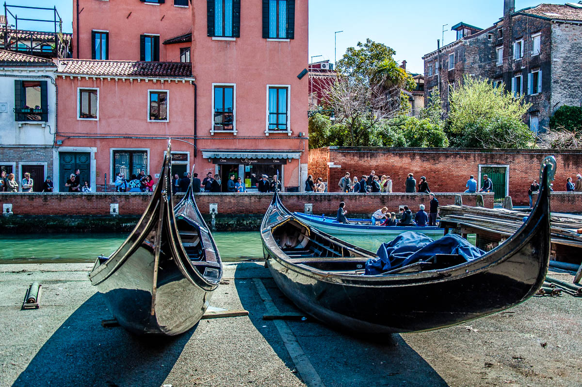 Gondolas waiting to be repaired - Squero di San Trovaso - Venice, Italy - rossiwrites.com
