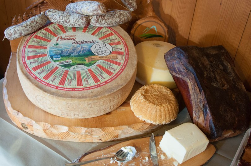 Traditional Trentino cheeses and sausages - Dolomites, Trentino, Italy - rossiwrites.com