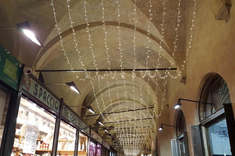 Christmas lights decorate Sotto il Salone in Palazzo della Ragione - Padua, Veneto, Italy - rossiwrites.com