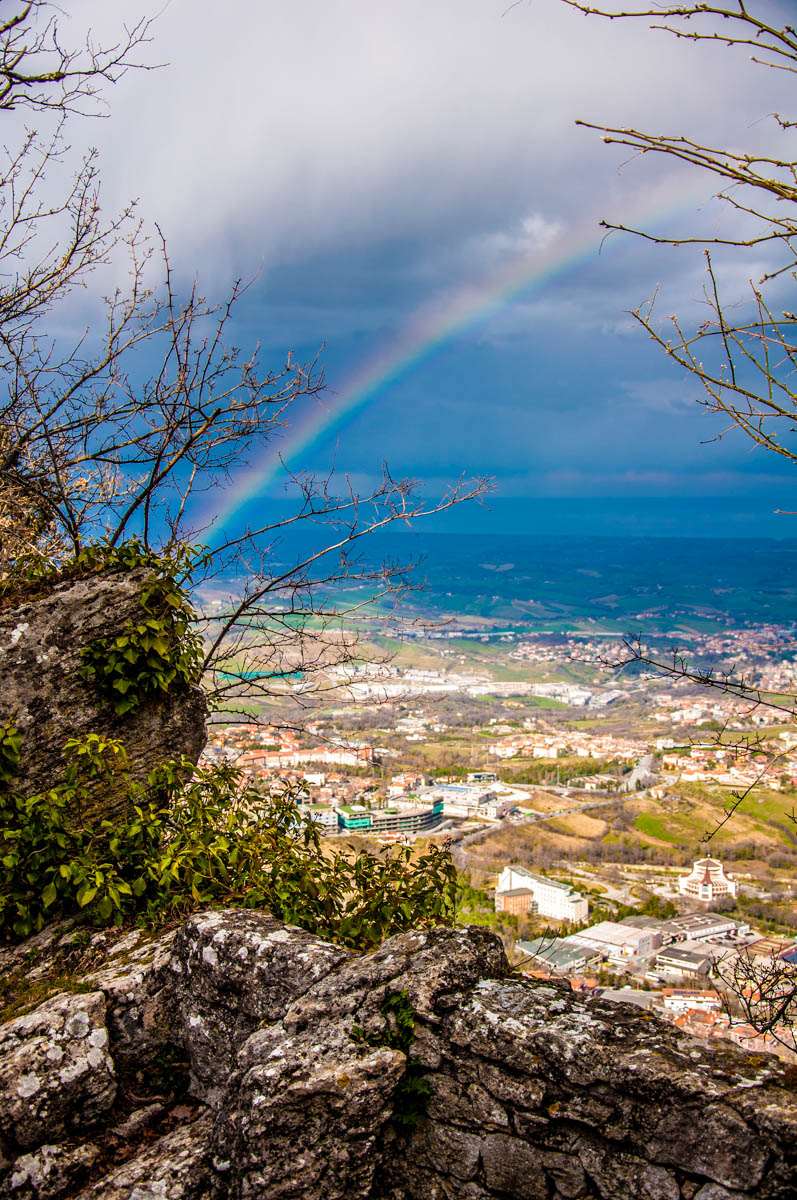 Rainbow seen from the top of Mount Titano - San Marino - rossiwrites.com