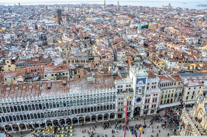 Birds'eye view of Venice from the top of St. Mark's Campanile - Venice, Italy - rossiwrites.com
