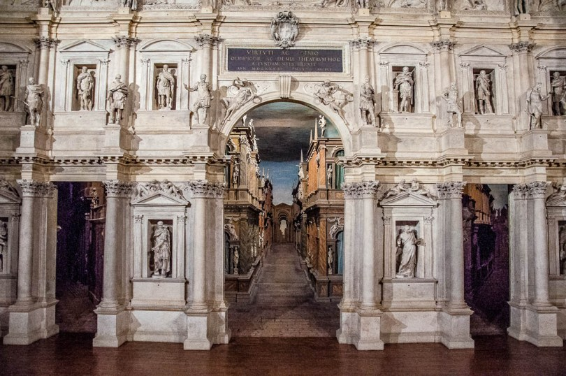 The historical stage set of Teatro Olimpico - Vicenza, Italy - rossiwrites.com