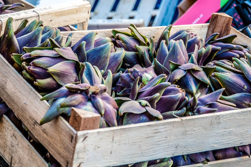 Purple artichokes from the island of Sant'Erasmo - Venice, Italy - rossiwrites.com