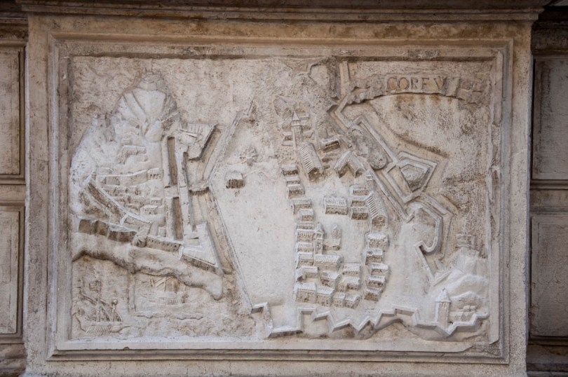 The map of Corfu on the facade of the Church of Santa Maria del Giglio - Venice, Italy - rossiwrites.com