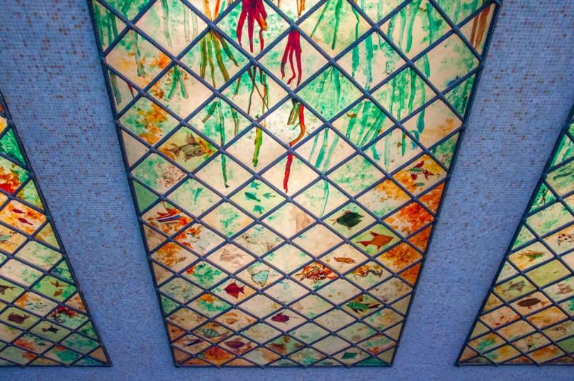 Murano glass panels at Venezia Santa Lucia Train station - Venice, Italy - rossiwrites.com