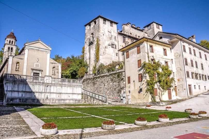 Piazza Maggiore with the Church of St. Roch and the Alboino Castle - Feltre - Veneto, Italy - rossiwrites.com