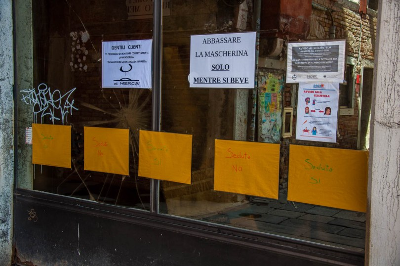 Signs outside of a bar - Venice, Italy - rossiwrites.com