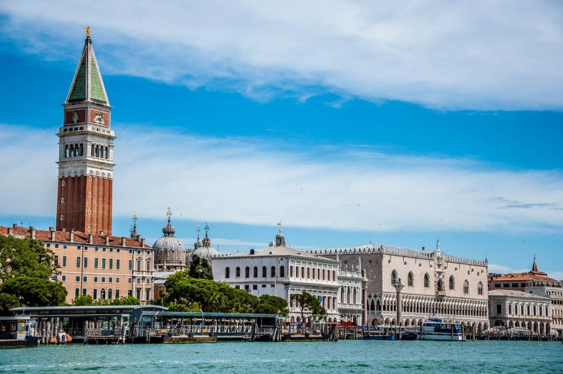 The Doge's Palace and the St. Mark's Bell Tower seen from the Punta della Dogana - Venice, Italy - rossiwrites.com