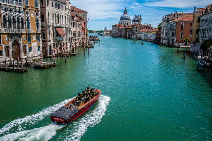 The Grand Canal with a fire engine boat seen from the Accademia Bridge - Venice, Italy - rossiwrites.com