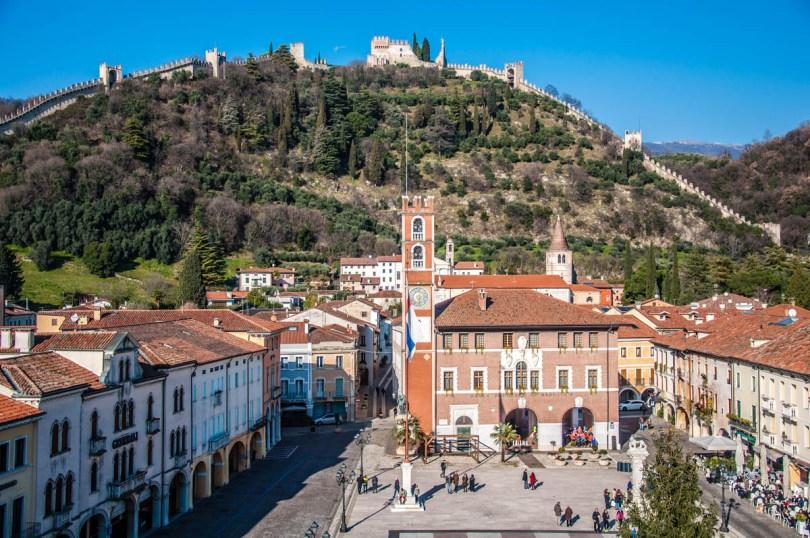 View of Piazza Castello (also known as Piazza degli Scacchi), Marostica - Veneto, Italy - rossiwrites.com