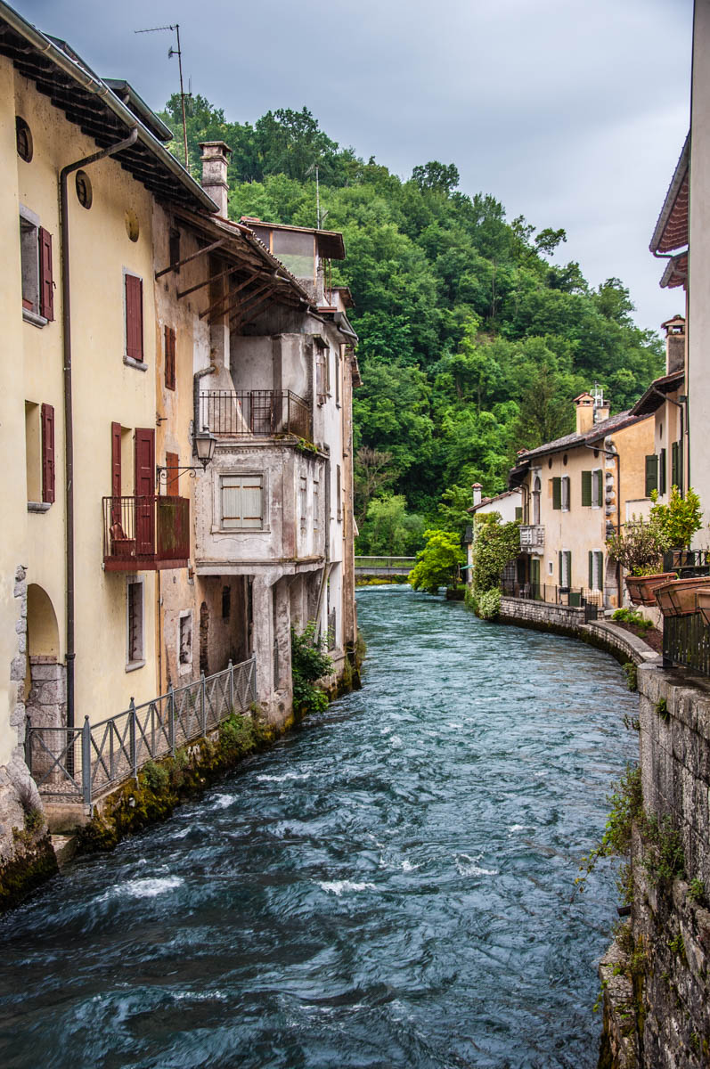 The river Gorgazzo flowing through the centre of the village - Polcenigo, Friuli Venezia Giulia, Italy - rossiwrites.com