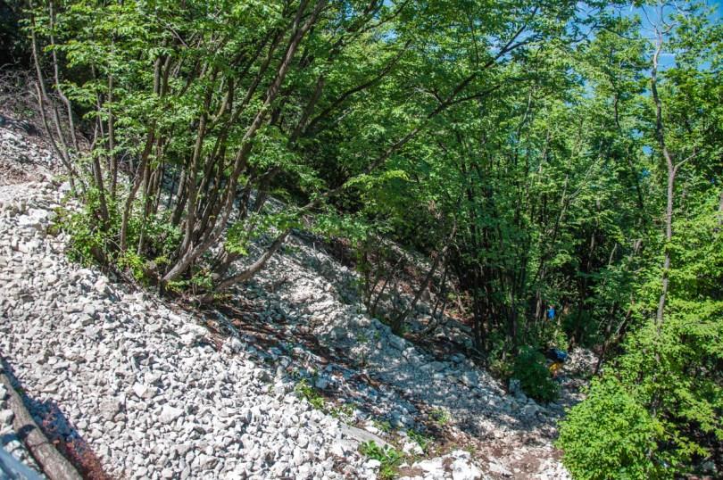 The rocky part of the hike to Lake Garda's Tibetan Bridge in Val Valzana - Crero, Lake Garda, Veneto, Italy - rossiwrites.com