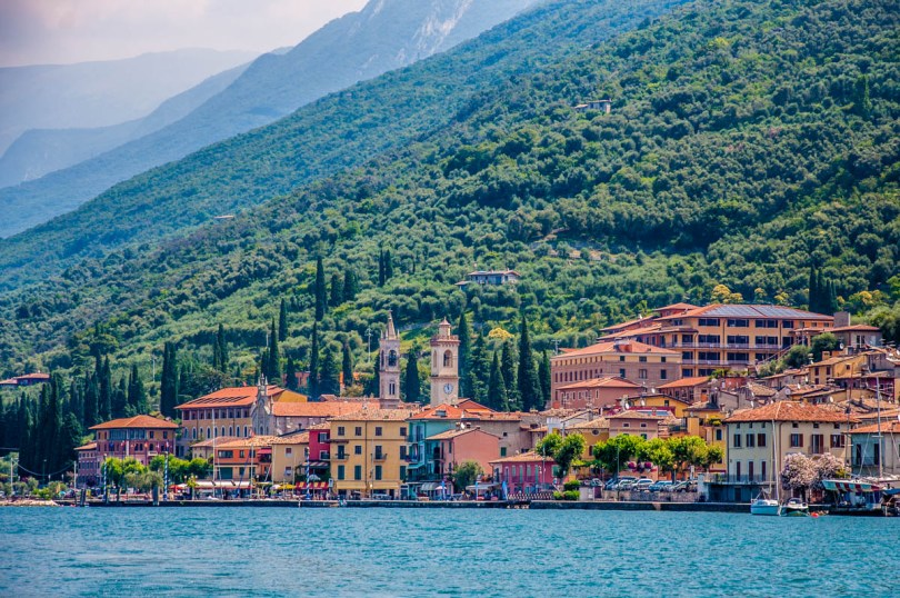 Castelleto sul Garda seen from the water - Lake Garda, Veneto, Italy - rossiwrites.com