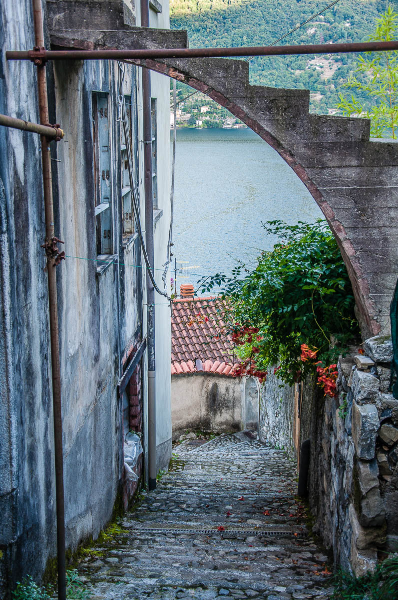 View of the village with its steep step streets - Nesso, Lake Como, Italy - rossiwrites.com