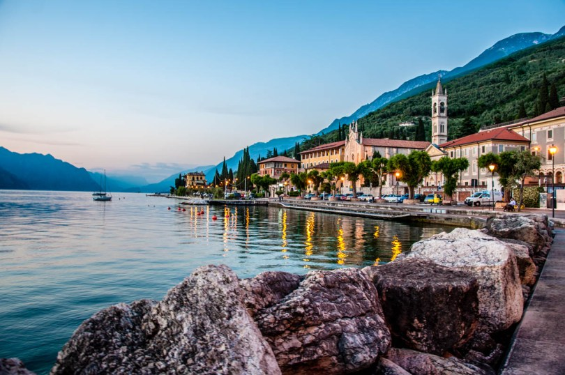 A dusk view of the small town of Castelleto sul Garda on Lake Garda - Veneto, Italy - rossiwrites.com