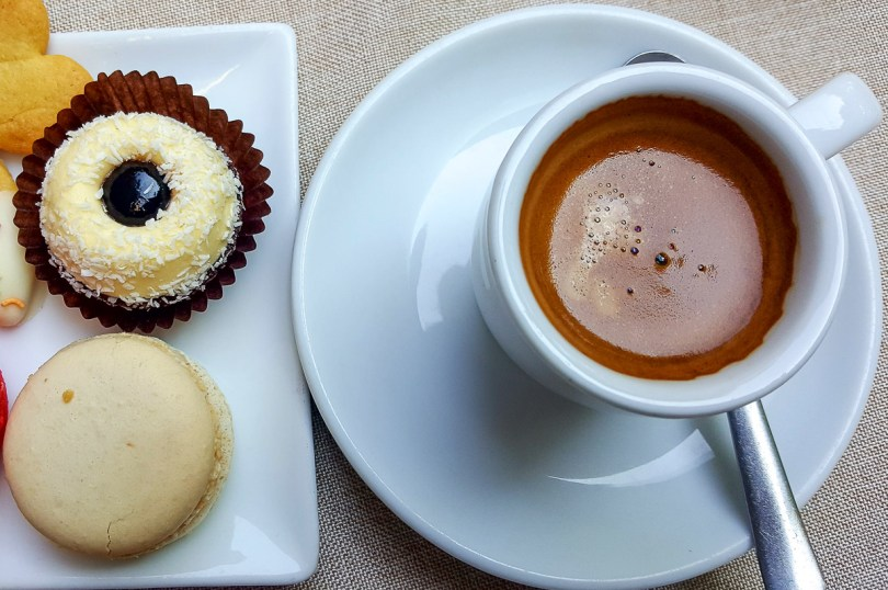 Espresso served with sweets - Vicenza, Italy - rossiwrites.com