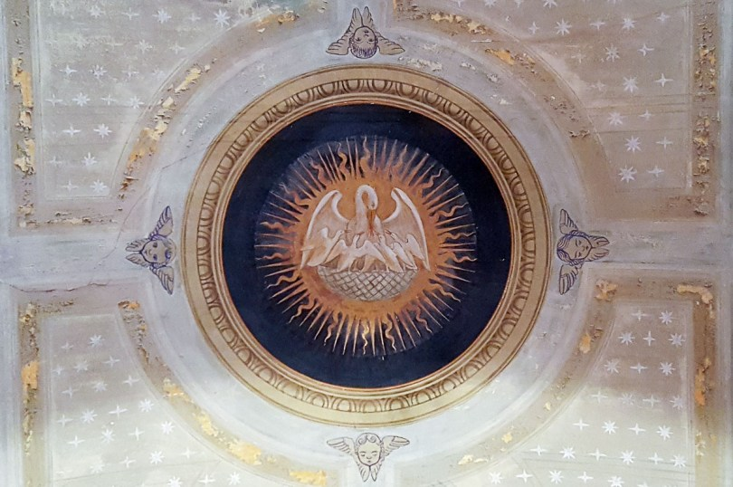 Fresco of a pelican on the ceiling of the Church of San Giovanni - Gradara, Italy - rossiwrites.com