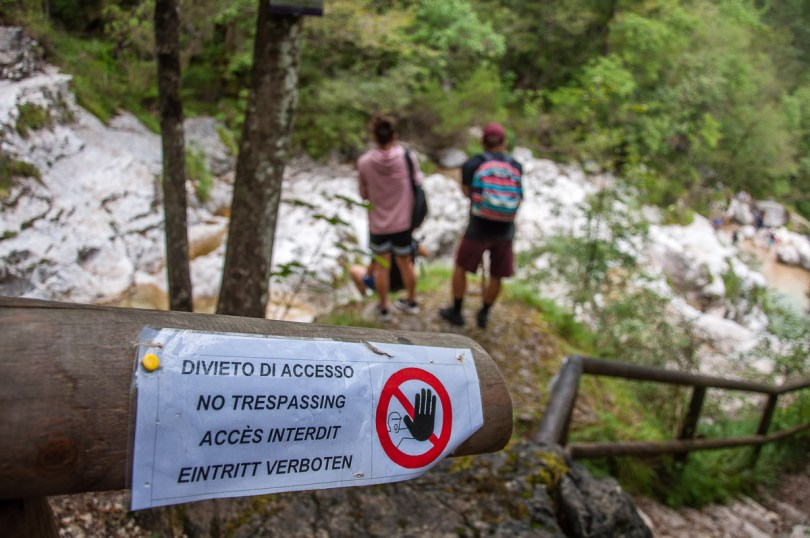 People ignoring the safety notices - Cadini del Brenton - Dolomites, Italy - rossiwrites.com