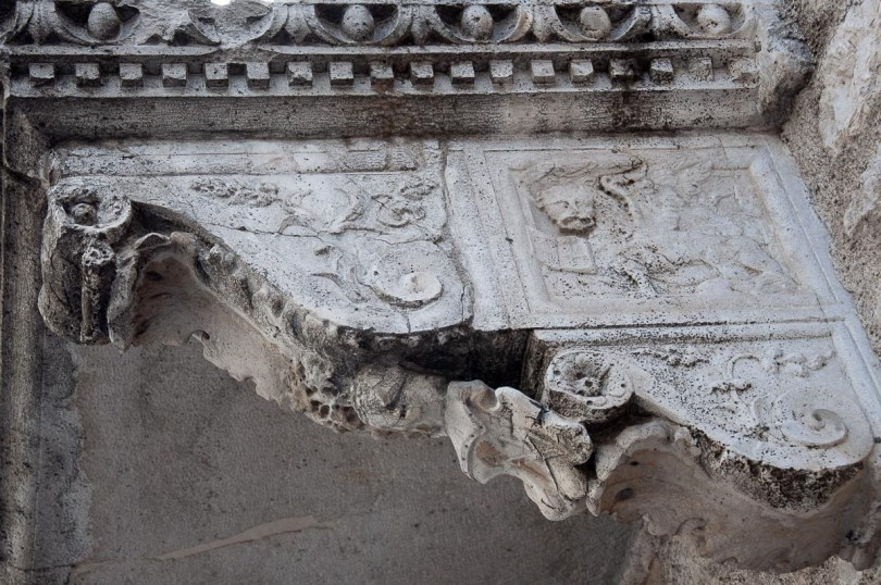 The winged Venetian lion adorning a balcony support - Venzone, Italy - rossiwrites.com
