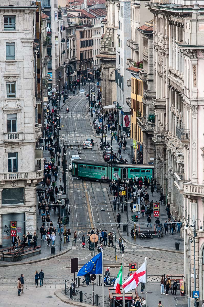 A central street seen from the rooftop of Galleria Vittorio Emanuele II - Milan, Italy - rossiwrites.com