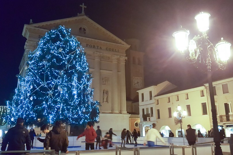 The ice rink at Christmas - Cittadella, Italy - rossiwrites.com
