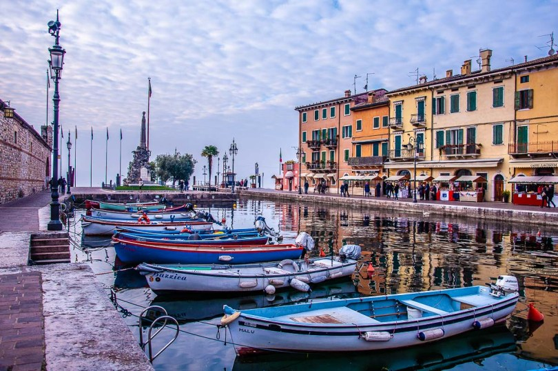 The historic harbour of the town of Lazise on Lake Garda - Veneto, Italy - rossiwrites.com
