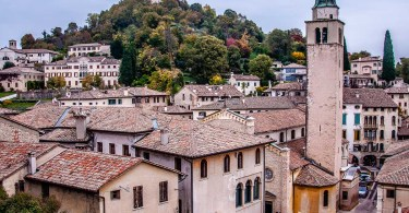 View of the town of Asolo with the hilltop fortress Rocca - Veneto, Italy - rossiwrites.com