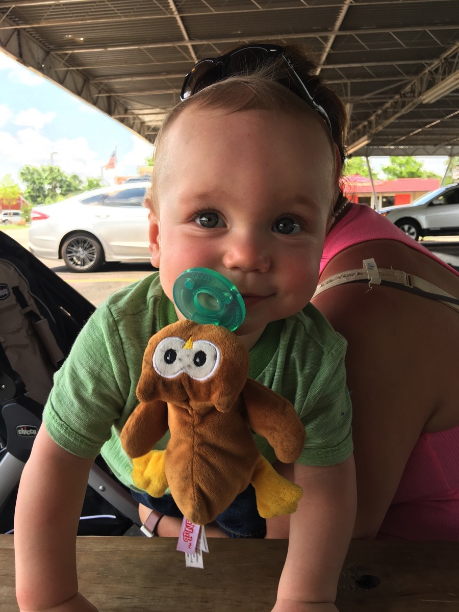 Ollie's first trip to Sooner Dairy Lunch (the best burger in Norman).