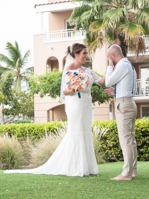 first look bride and groom Aruba destination wedding