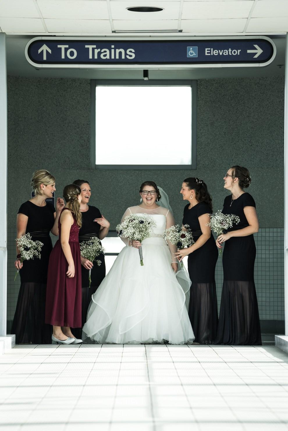 bridesmaids at train station