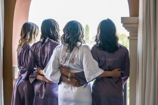 bride and bridesmaids dresses