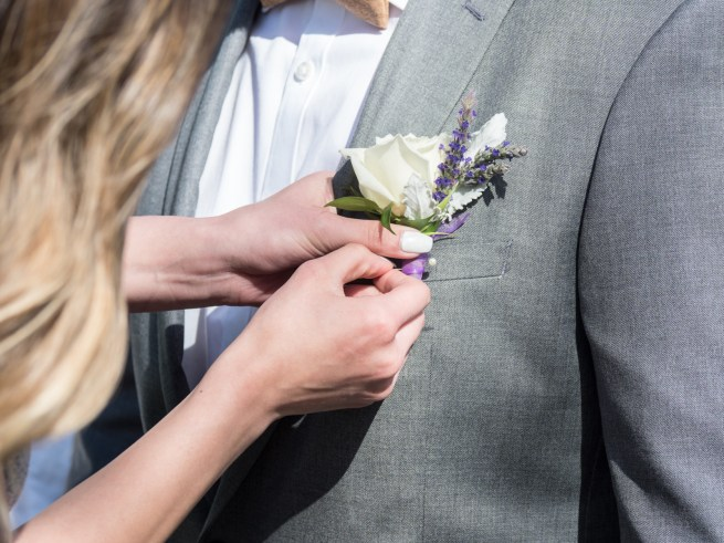 lavender and rose boutonniere