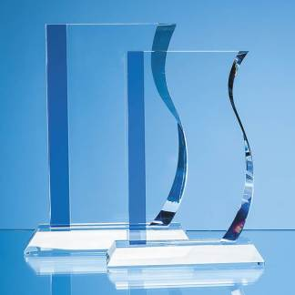 20cm Optical Crystal Blueline Wave Award