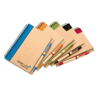Recycled notebook with biodegradable pen
