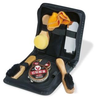 Luxurious shoe polish kit in travel case.