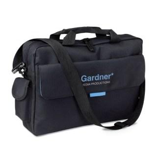 Document bag with front pocket and shoulder strap