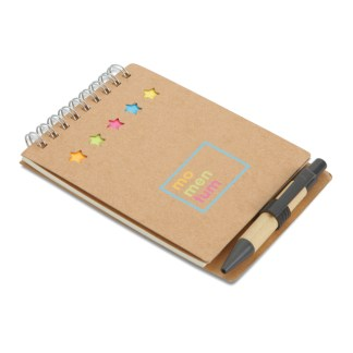 Notebook with pen sticky note